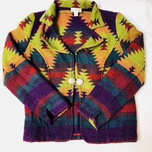 CEC Coldwater Creek Aztec Conch button Jacket Sm